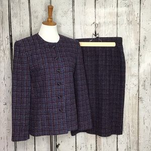 Pendleton Plaid Wool skirt and blazer set